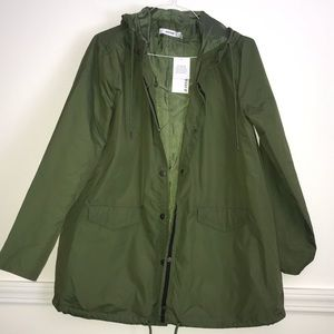 Olive Green hooded rain coat